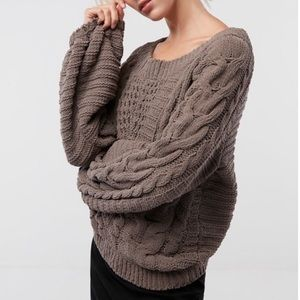 Express Boat Neck Balloon Sleeve Cable Knit